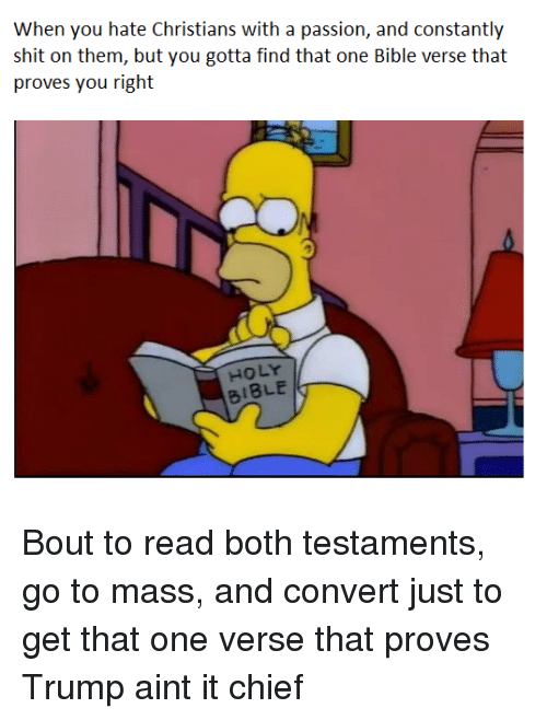 Shit, Bible, and Trump: When you hate Christians with a passion, and constantly  shit on them, but you gotta find that one Bible verse that  proves you right  HOLY  BIBLE
