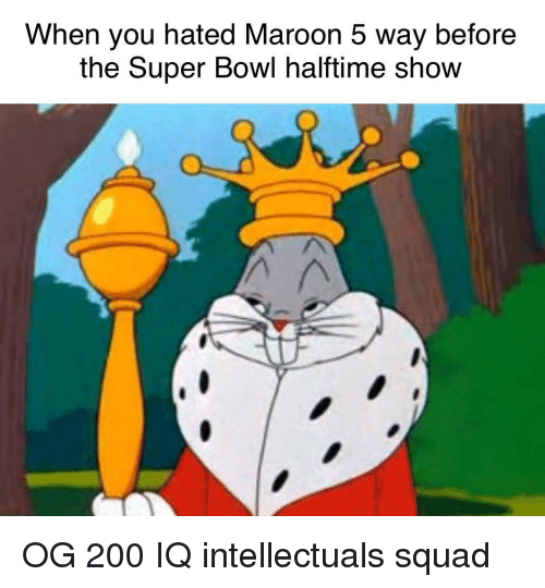 Maroon 5: When you hated Maroon 5 way before  the Super Bowl halftime show  O. OG 200 IQ intellectuals squad