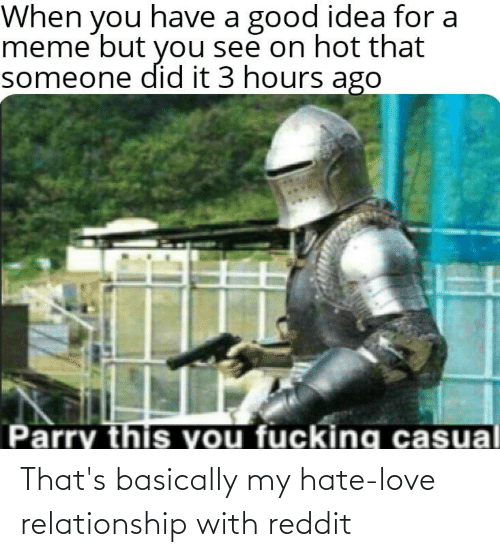 Love Relationship: When you have a good idea for a  meme but you see on hot that  someone did it 3 hours ago  Parry this you fucking casual That's basically my hate-love relationship with reddit