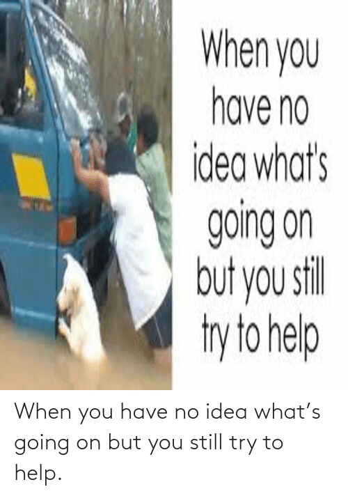 You Have No: When you have no idea what's going on but you still try to help.