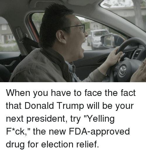 "Approvation: When you have to face the fact that Donald Trump will be your next president, try ""Yelling F*ck,"" the new FDA-approved drug for election relief."