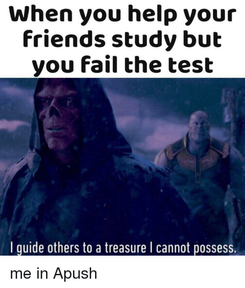 Fail, Friends, and Help: When you help your  Friends study but  you fail the test  I guide others to a treasure I cannot possess. me in Apush