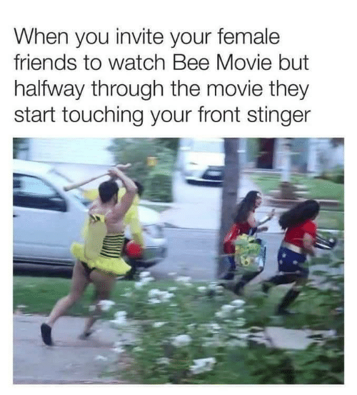 Halfway Through: When you invite your female  friends to watch Bee Movie but  halfway through the movie they  start touching your front stinger