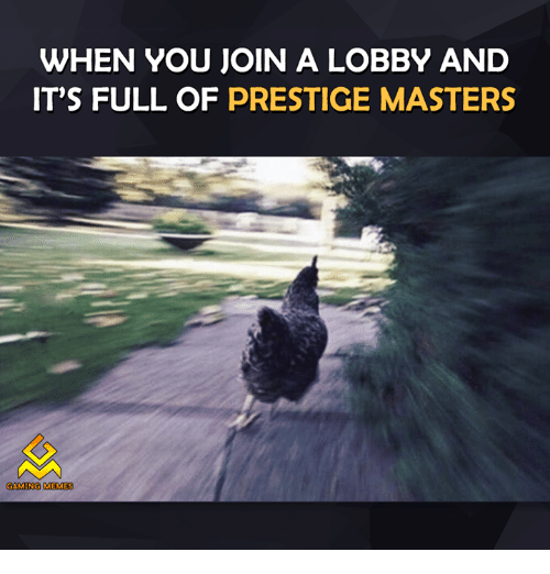 Game Meme: WHEN YOU JOIN A LOBBY AND  IT'S FULL OF PRESTIGE MASTERS  GAMING MEMES