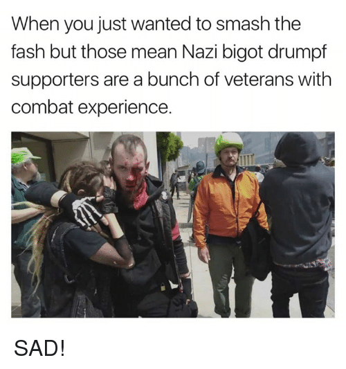 Bigotism: When you just wanted to smash the  fash but those mean Nazi bigot drumpf  supporters are a bunch of veterans with  combat experience. SAD!