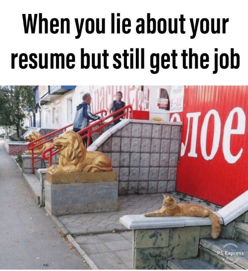 Resume: When you lie about your  resume but still get the job  -22  Oe  PS Express