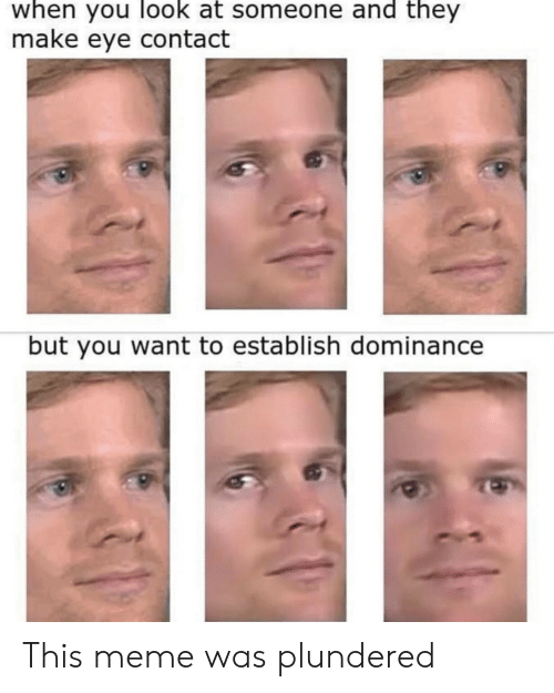 make-eye-contact: when you look at someone and they  make eye contact  but you want to establish dominance This meme was plundered