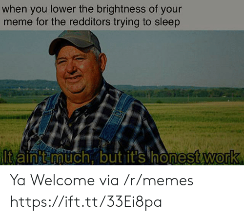 Redditors: when you lower the brightness of your  meme for the redditors trying to sleep  ltain t much, but it's honest work Ya Welcome via /r/memes https://ift.tt/33Ei8pa