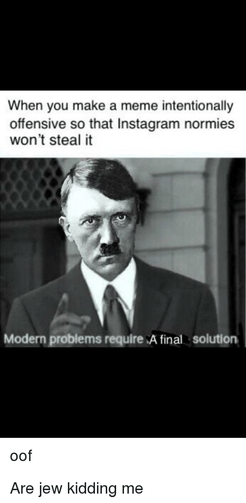 Instagram, Meme, and Make A: When you make a meme intentionally  offensive so that Instagram normies  won't steal it  Modern problems require A final solution  oof