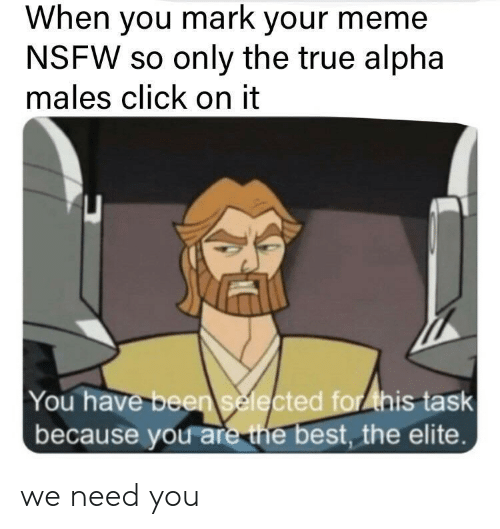 alpha: When you mark your meme  NSFW so only the true alpha  males click on it  You have been selected for ihis task  because you are the best, the elite. we need you