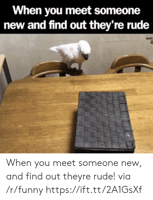 When You Meet Someone: When you meet someone  new and find out they're rude When you meet someone new, and find out theyre rude! via /r/funny https://ift.tt/2A1GsXf