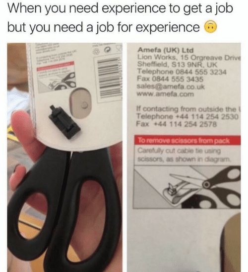 Drive, Lion, and Diagram: When you need experience to get a job  but you need a job for experience 6  Amefa (UK) Ltd  @Q  Lion Works, 15 Orgreave Drive  Sheffield, S13 9NR. UK  Telephone 0844 555 3234  Fax 0844 555 3435  sales@amefa.co.uk  www.amefa.com  If contacting from outside the  Telephone +44 114 254 2530  Fax +44 114 254 2578  To remove scissors from pack  Carefully cut cable tie using  scissors, as shown in diagram