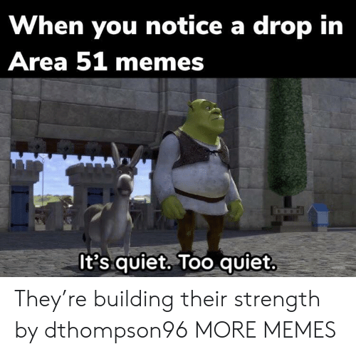 Too Quiet: When you notice a drop in  Area 51 memes  It's quiet. Too quiet. They're building their strength by dthompson96 MORE MEMES