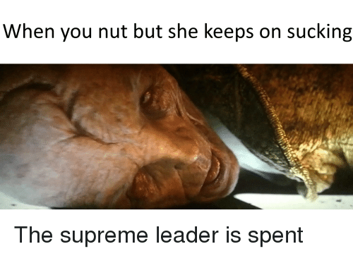 Supreme, Dank Memes, and She: When you nut but she keeps on sucking