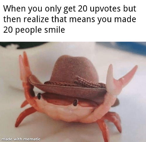Upvotes: When you only get 20 upvotes but  then realize that means you made  20 people smile  made with mematic