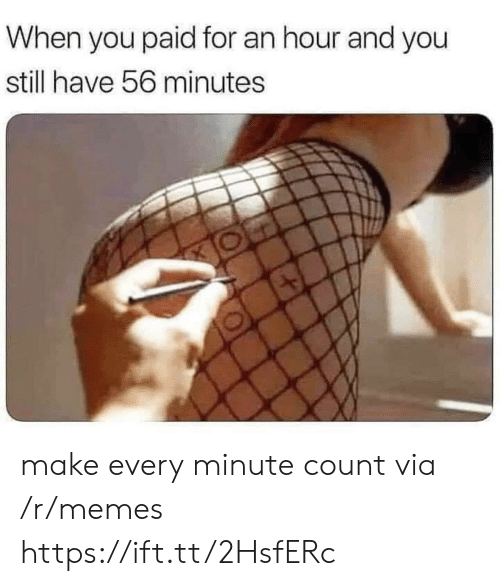Memes, Via, and Make: When you paid for an hour and you  still have 56 minutes make every minute count via /r/memes https://ift.tt/2HsfERc