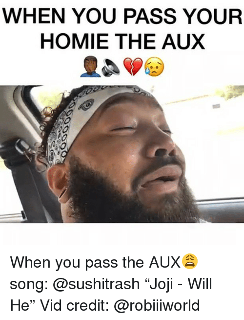 """Sushitrash: WHEN YOU PASS YOUR  HOMIE THE AUX When you pass the AUX😩 song: @sushitrash """"Joji - Will He"""" Vid credit: @robiiiworld"""