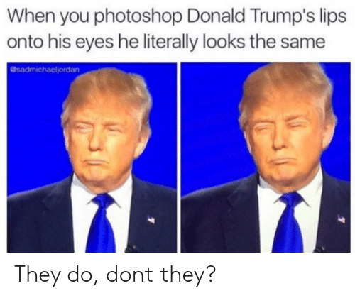 Donald Trumps: When you photoshop Donald Trump's lips  onto his eyes he literally looks the same  @sadmichaeljordan They do, dont they?