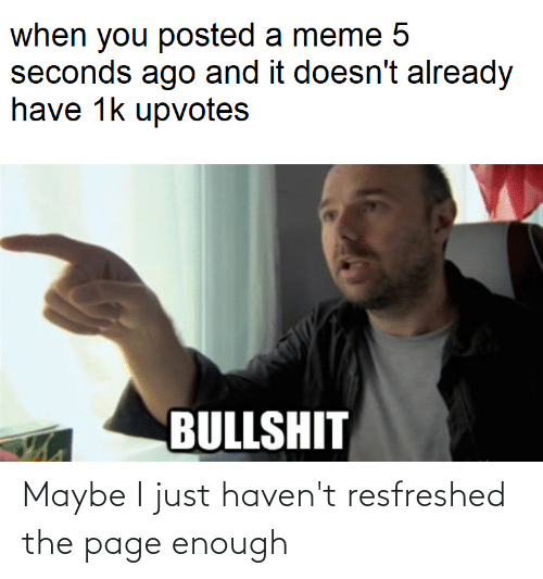 Meme 5: when you posted a meme 5  seconds ago and it doesn't already  have 1k upvotes  BULLSHIT Maybe I just haven't resfreshed the page enough