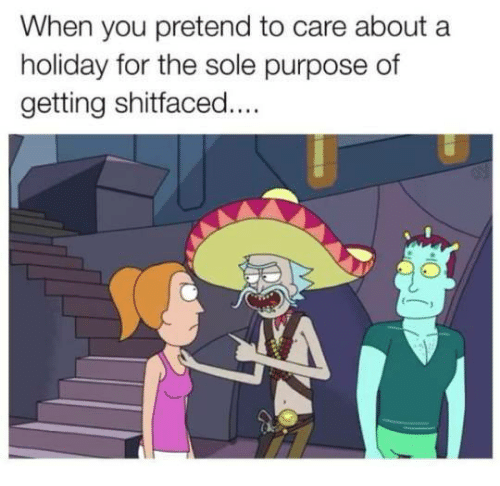 Pretend To Care: When you pretend to care about a  holiday for the sole purpose of  getting shitfaced....