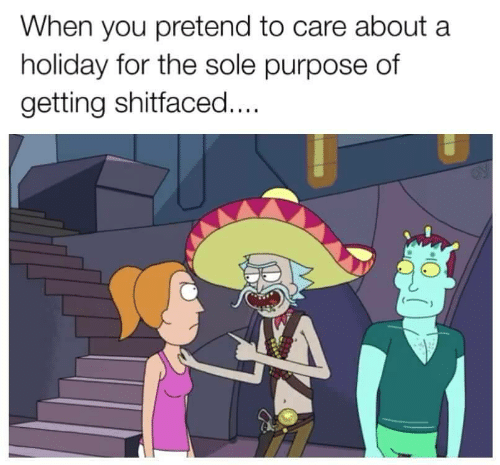 Pretend To Care: When you pretend to care about a  holiday for the sole purpose df  getting shitfaced....