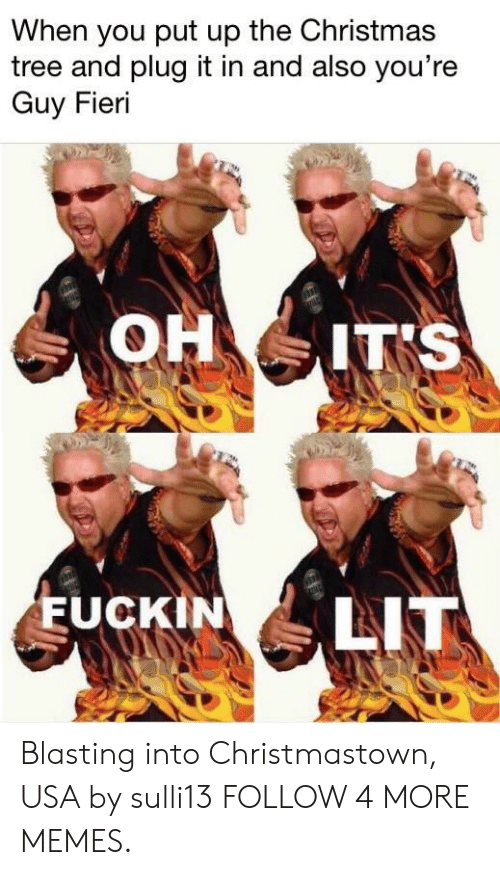 It's lit: When you put up the Christmas  tree and plug it in and also you're  Guy Fieri  OH IT'S  LIT  EUCKIN Blasting into Christmastown, USA by sulli13 FOLLOW 4 MORE MEMES.