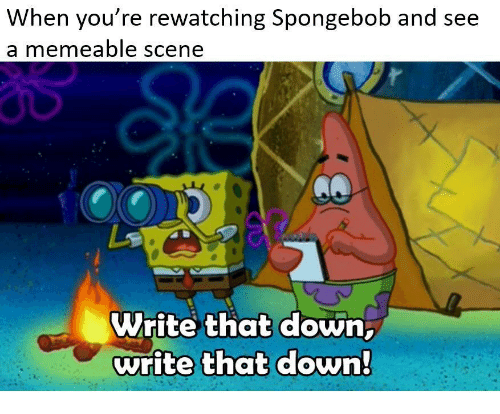 SpongeBob, Down, and You: When you re rewatching Spongebob and see  a memeable scene  Write that down  write that down