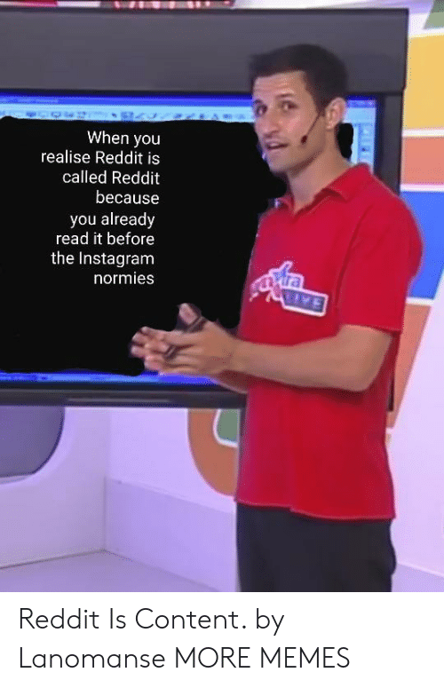 Dank, Instagram, and Memes: When you  realise Reddit is  called Reddit  because  you already  read it before  the Instagram  normies Reddit Is Content. by Lanomanse MORE MEMES