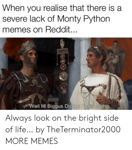 Dank, Life, and Memes: When you realise that there is a  severe lack of Monty Python  memes on Reddit...  Wait till Biggus Dickus  hears of this. Always look on the bright side of life… by TheTerminator2000 MORE MEMES