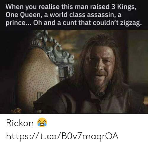 assassin: When you realise this man raised 3 Kings,  One Queen, a world class assassin, a  prince... Oh and a cunt that couldn't zigzag. Rickon 😂 https://t.co/B0v7maqrOA