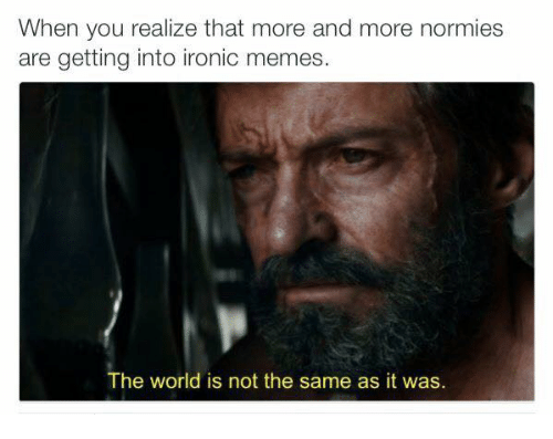 Ironic Memes: When you realize that more and more normies  are getting into ironic memes  The world is not the same as it was