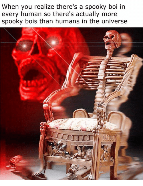 Boi In: When you realize there's a spooky boi in  every human so there's actually more  spooky bois than humans in the universe