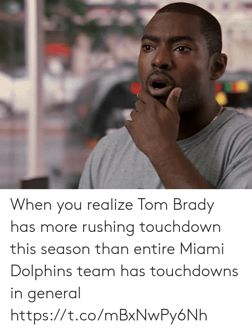 Miami Dolphins: When you realize Tom Brady has more rushing touchdown this season than entire Miami Dolphins team has touchdowns in general https://t.co/mBxNwPy6Nh