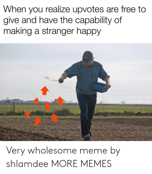 Dank, Meme, and Memes: When you realize upvotes are free to  give and have the capability of  making a stranger happy Very wholesome meme by shlamdee MORE MEMES