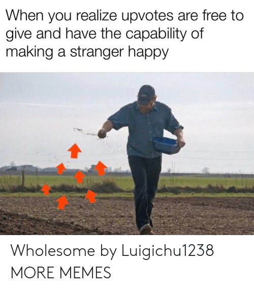 Dank, Memes, and Target: When you realize upvotes are free to  give and have the capability of  making a stranger happy Wholesome by Luigichu1238 MORE MEMES