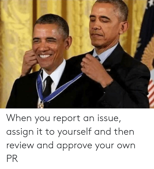 Own, Review, and You: When you report an issue, assign it to yourself and then review and approve your own PR