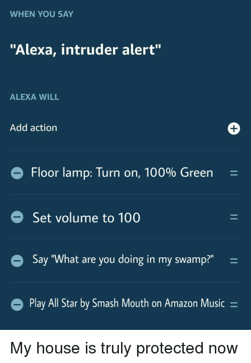 "All Star, Amazon, and Anaconda: WHEN YOU SAY  ""Alexa, intruder alert""  ALEXA WILL  Add action  Floor lamp: Turn on, 100% Green  Set volume to 100  Say ""What are you doing in my swamp?"" -  Play All Star by Smash Mout  h on Amazon Music- My house is truly protected now"