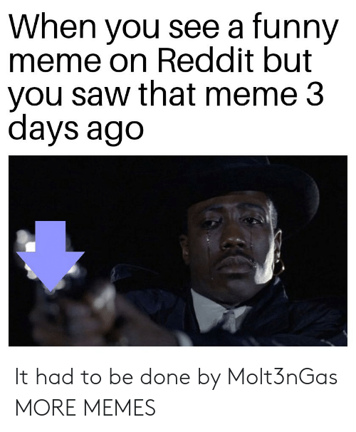 funny meme: When you see a funny  meme on Reddit but  you saw that meme 3  days ago It had to be done by Molt3nGas MORE MEMES