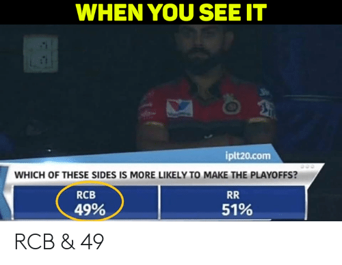 When you see it: WHEN YOU SEE IT  iplt20.com  WHICH OF THESE SIDES IS MORE LIKELY TO MAKE THE PLAYOFFS?  RCB  49%  51% RCB & 49