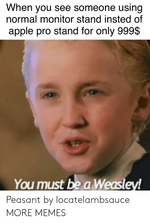 monitor: When you see someone using  normal monitor stand insted of  apple pro stand for only 999$  You must be a Weasley! Peasant by locatelambsauce MORE MEMES