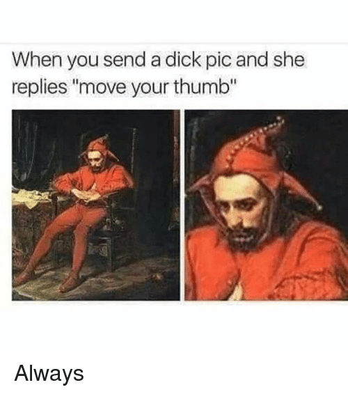 "Dicks Pic: When you send a dick pic and she  replies ""move your thumb"" Always"