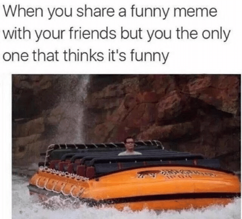 Meme With: When you share a funny meme  with your friends but you the only  one that thinks it's funny