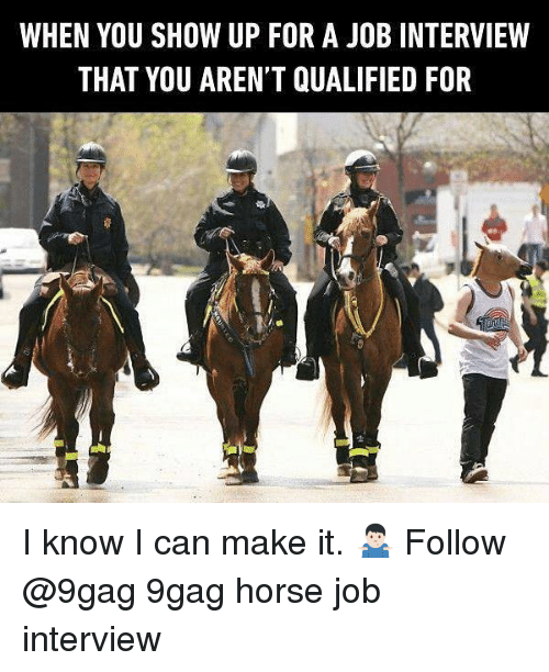 9gag, Job Interview, and Memes: WHEN YOU SHOW UP FOR A JOB INTERVIEW  THAT YOU AREN'T QUALIFIED FOR I know I can make it. 🤷🏻♂️ Follow @9gag 9gag horse job interview