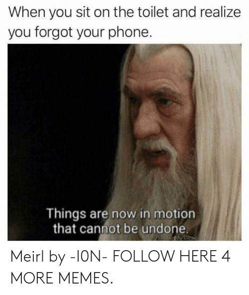 Dank, Memes, and Phone: When you sit on the toilet and realize  you forgot your phone.  Things are now in motion  that cannot be undone. Meirl by -I0N- FOLLOW HERE 4 MORE MEMES.