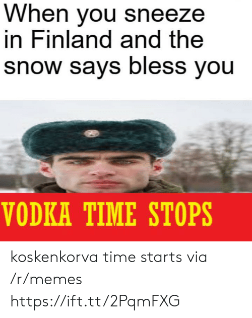 Memes, Snow, and Time: When you sneeze  in Finland and the  snow says bless you  VODKA TIME STOPS koskenkorva time starts via /r/memes https://ift.tt/2PqmFXG