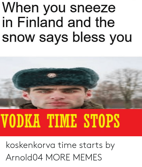 Dank, Memes, and Target: When you sneeze  in Finland and the  snow says bless you  VODKA TIME STOPS koskenkorva time starts by Arnold04 MORE MEMES