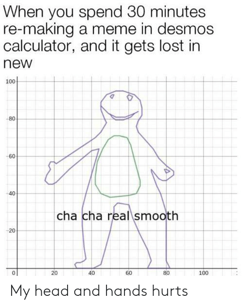 Head, Meme, and Smooth: When you spend 30 minutes  re-making a meme in desmos  calculator, and it gets lost in  new  100  -80  -60  40  cha cha real smooth  20  40  80  60  100  20 My head and hands hurts