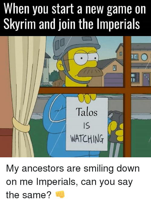 Memes, Skyrim, and Game: When you start a new game on  Skyrim and join the lmperials  Talos  Is  WATCHING My ancestors are smiling down on me Imperials, can you say the same? 👊