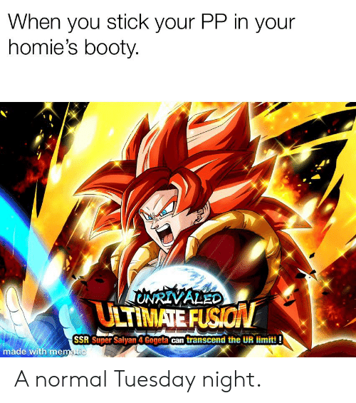 Booty, Super Saiyan, and Dank Memes: When you stick your PP in your  homie's booty.  ONRIVALEO  ULTIMATE FUSION  SSR Super Saiyan 4 Gogeta can transcend the UR limit!!  made with mematic A normal Tuesday night.