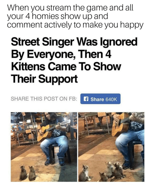 The Game, Game, and Happy: When you stream the game and all  your 4 homies show up and  comment actively to make you happy  Street Singer Was Ignored  By Everyone, Then 4  Kittens Came To Show  Their Support  SHARE THIS POST ON FB:  fShare 640K